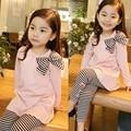 Autumn Winter Girl Clothes Set Dot Long Sleeve+Pant Kid Suit Cute Stripes Cotton Casual Girls Clothing Set