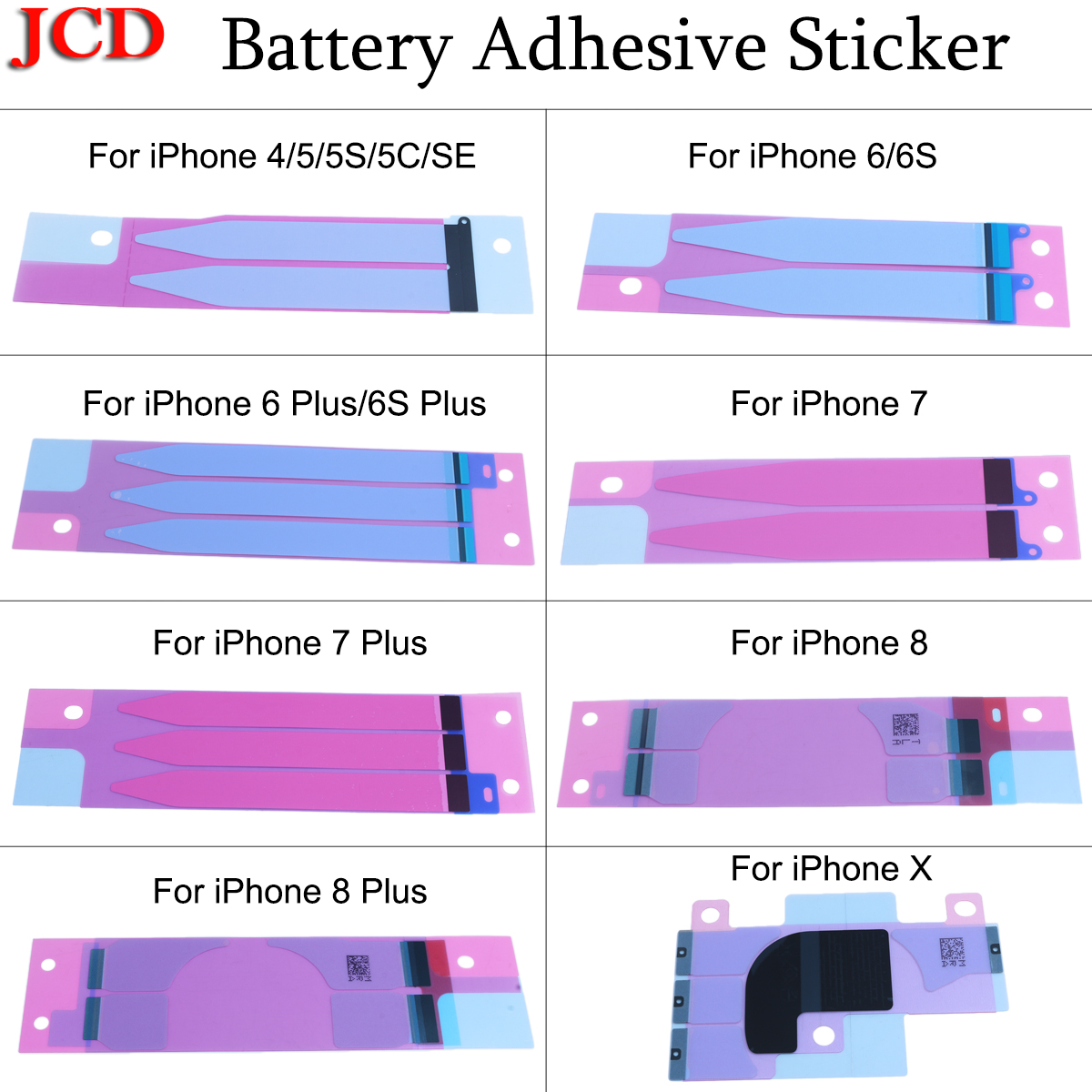 JCD 10pcs Battery Adhesive Sticker For iPhone X 5s 5c 6 6s 7 8 plus Battery Glue Tape Strip Tab Replacement Part for iPhone X