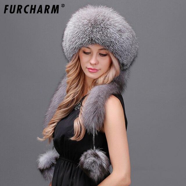 Для женщин зимняя меховая шапка из натуральной меха лисы шляпы с 2 Помпона весь лисий хвост русская зима снаружи теплый монгольские женские Шапки