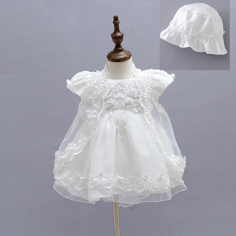 Baby Girls Christening Gown Dresses+Hat+Shawl Vestidos Infantis Princess Wedding Party Lace Dress for Newborn Baptism 3PCS