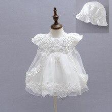 Bebek Kız Vaftiz cüppeli elbiseler + Şapka + Şal Vestidos Infantis Prenses Düğün Parti Dantel Elbise Yenidoğan Vaftiz 3 ADET