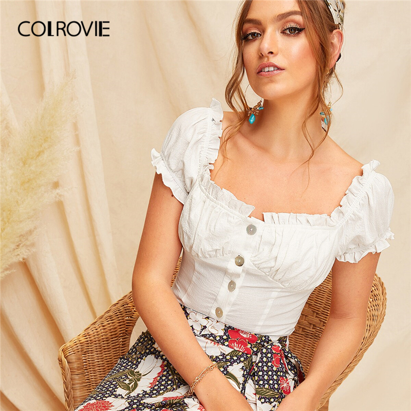 COLROVIE White Square Neck Button Front Frill Boho Crop Top Women   Blouse     Shirt   2019 Summer Korean Holiday Sweet Tops And   Blouses