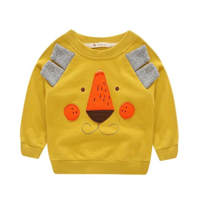 Детская одежда весна осень дети мальчиков девушки футболки мультфильм медведь pattern с длинным рукавом футболки повседневная Кофты