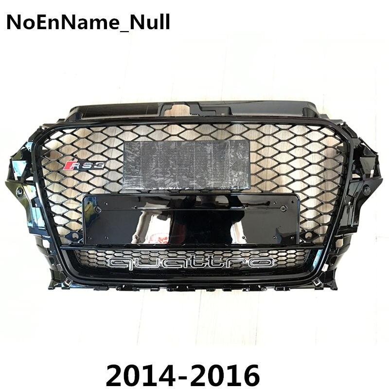 1 pcs RS3 Style Noir Nid D'abeille Maille Pare-chocs Avant Grille Pour Audi A3 S3 2014-2016 Car Styling