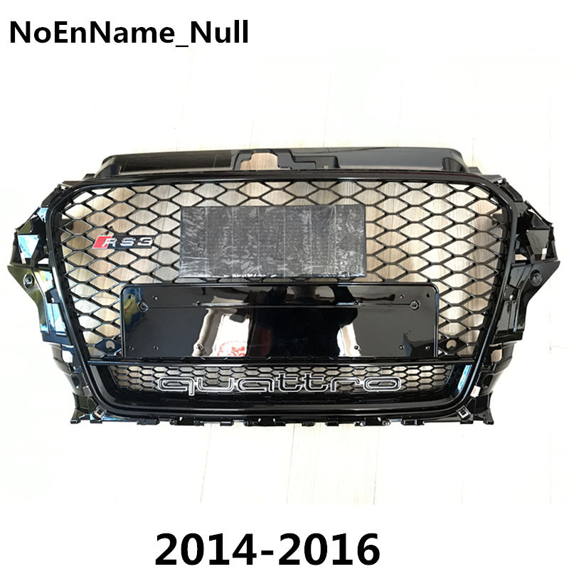 1PCS RS3 Style Black Honeycomb Mesh Front Bumper Grille For Audi A3 S3 2014-2016 Car Styling brand new a3 rs3 abs oem style auto car front bumper mesh grills with camera hole for audi fit for a3 rs3 2013 2014
