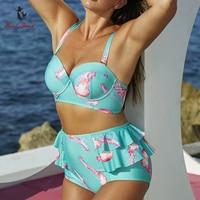 2017 Plus Size Swimwear High Waist Bikini XXXL Bikini Set Floral Swimsuit Bathing Suit Women Maillot