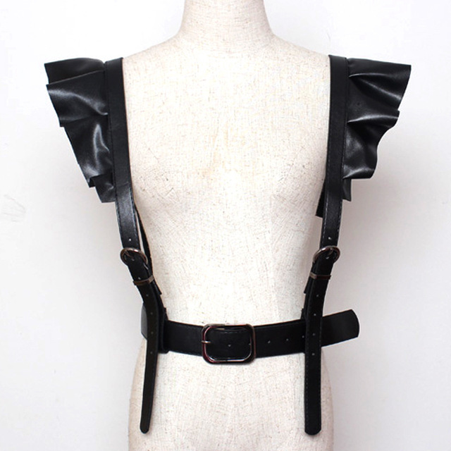 Women Belt Sexy Leather Suspenders Push Up Bust Strap Corset Female Wide Punk Belt Lady Adjust Suspender Faux Leather Super Cool