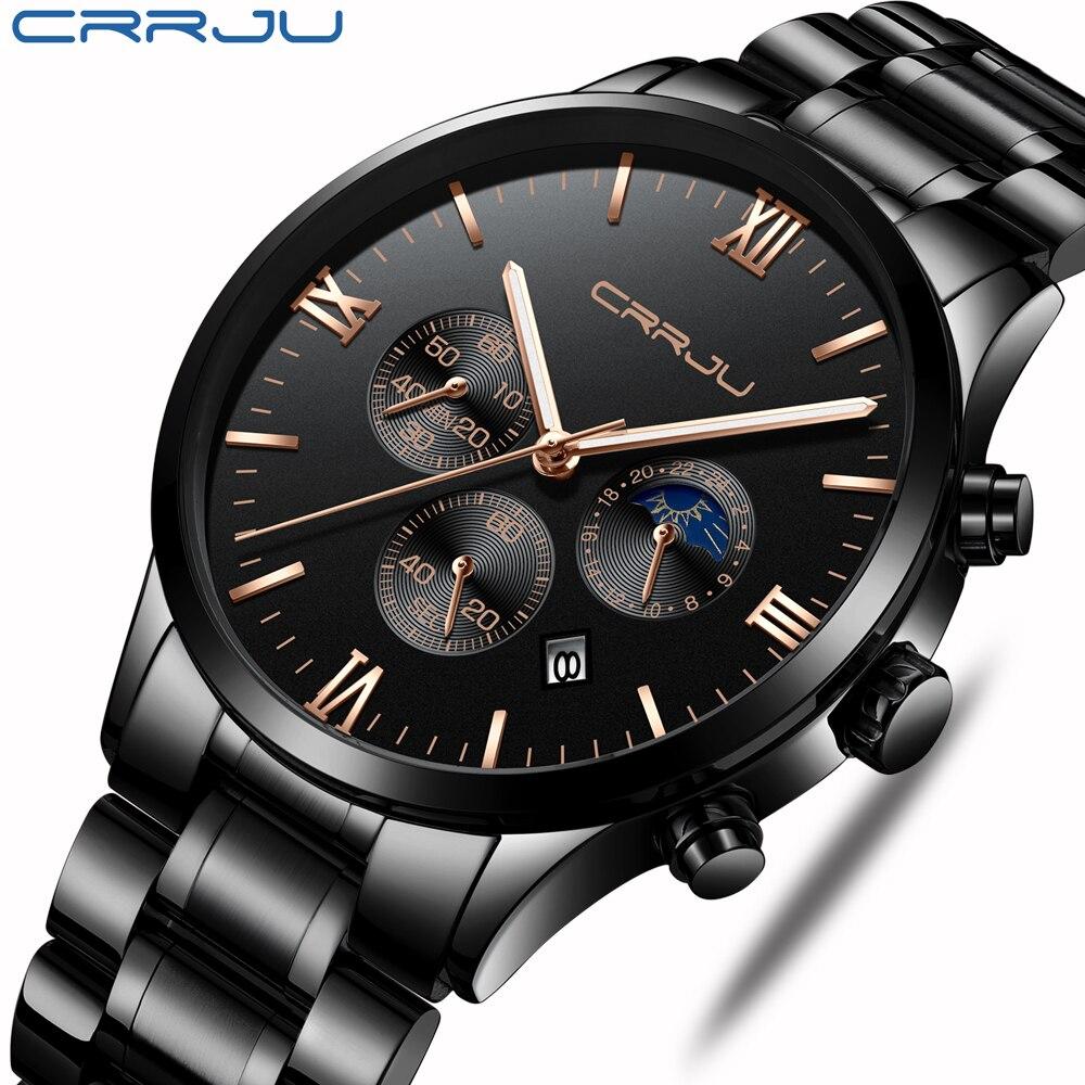 CRRJU Men Stainless Steel Quartz Watch Waterproof Timing Luminous Calendar Mens Watches Top Brand luxury Watch Relogio Masculino