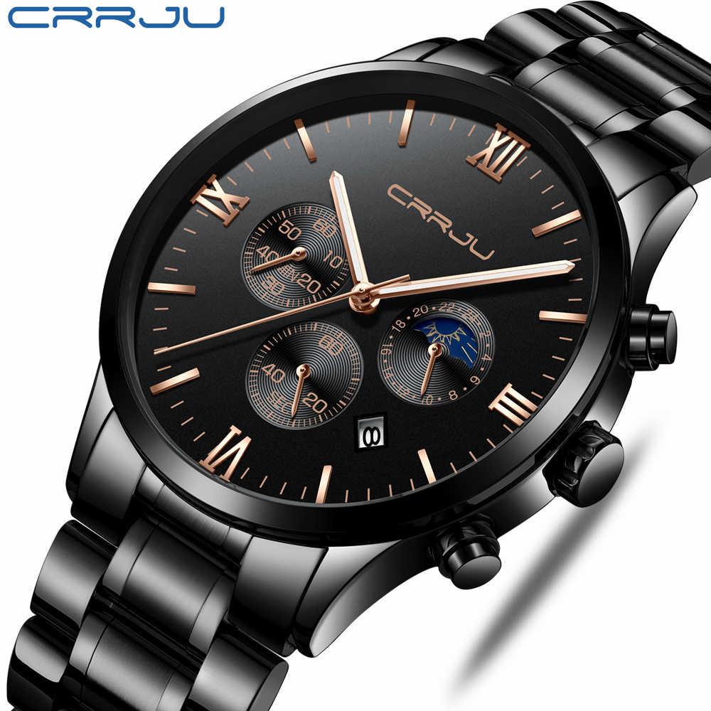 Montre à Quartz en acier inoxydable pour hommes CRRJU calendrier lumineux étanche montres pour hommes montre de luxe de marque Relogio Masculino