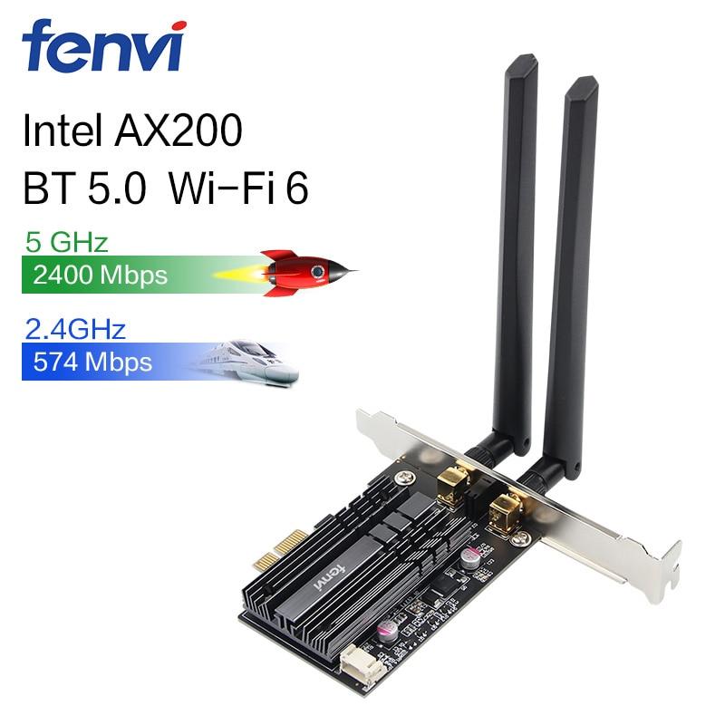 Sans fil 2400 Mbps bureau PCI-E double bande WLAN adaptateur de carte Wi-Fi pour Wi-Fi 6 AX200NGW 802.11ac/ax BT5.0 avec antennes