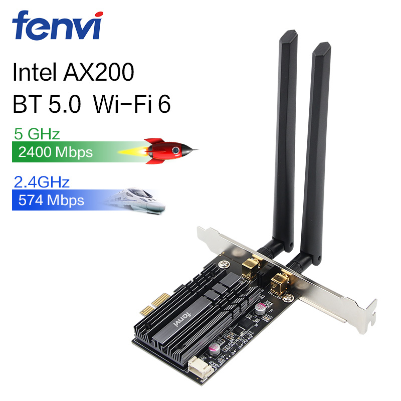 Wireless 2400Mbps Desktop PCI-E Dual Band WLAN Wi-Fi Card Adapter For Wi-Fi 6 AX200NGW 802.11ac/ax BT5.0 With Antennas