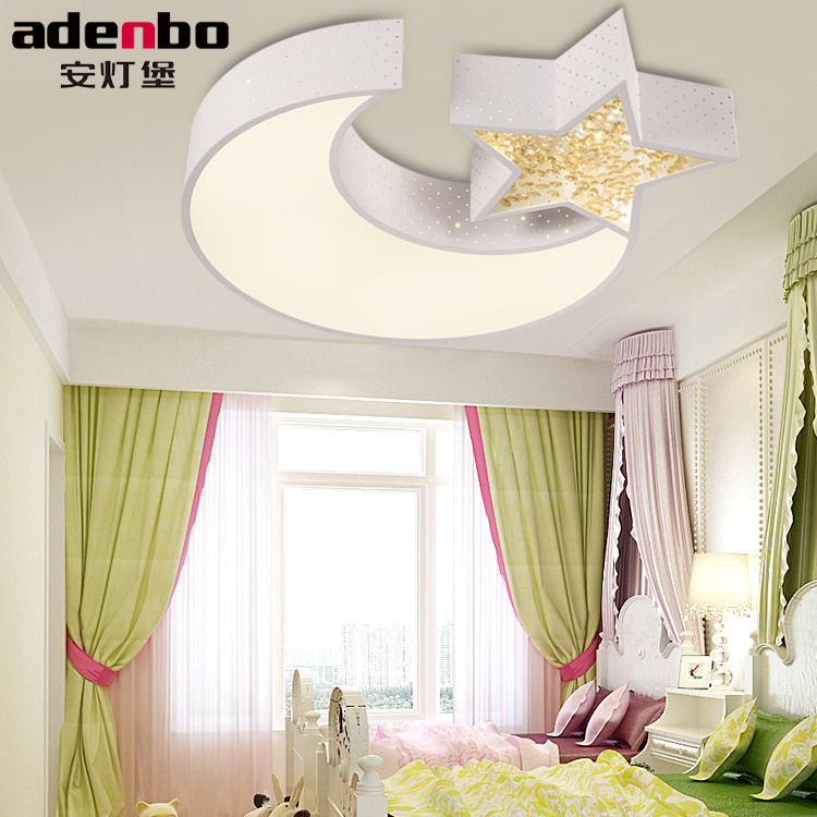 Remote Control Modern LED Ceiling Lights Moon And Star Children Lamp 24W SMD LED Electrodeless Dimmable Bedroom Lighting 605
