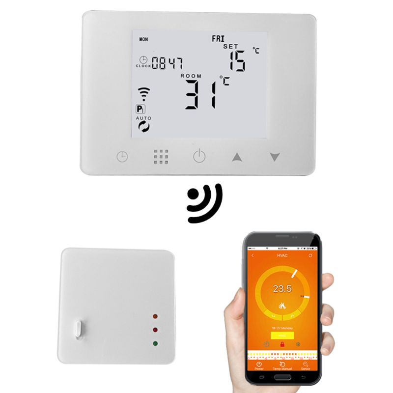 New WiFi & RF Wireless Room Thermostat Wall-hung Gas Boiler Heating Remote Control Temperature Controller Weekly Programmable valve radiator linkage controller weekly programmable room thermostat wifi app for gas boiler underfloor heating