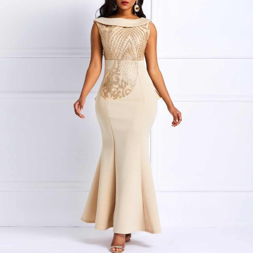 0b86643d4231f Women Sequins Bodycon Trumpet Party Dress 2019 Summer Elegant Slim Ruffle  Ladies Prom Evening Formal Dinner Red Sexy Maxi Dress