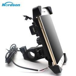 Новые мотоциклетные держатель телефона с USB Зарядное устройство мобильного телефона держатель для электрических автомобилей Мотоцикл Гор...