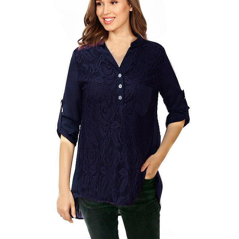 800de2fc79c 2019 Women Lace Chiffon Blouse Sexy Summer V-Neck Blouse Casual Long Sleeve  Blouse Shirt