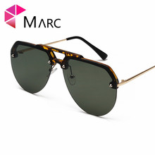 MARC 2019 Sunglasses Personality Women Semi-rimless Glasses Pilot Transparent Frame Red Leopard Fashion Men High Quality 1