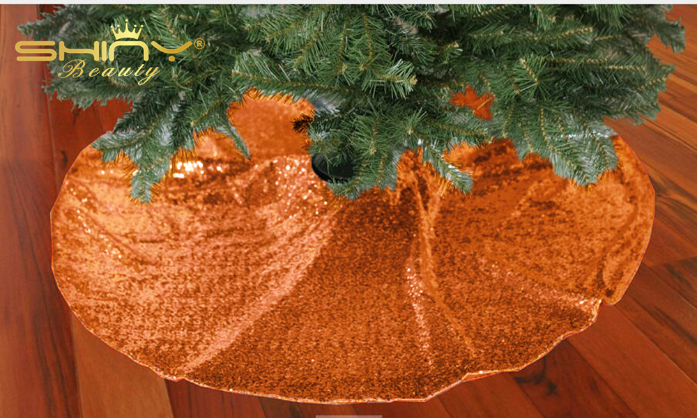 New! 48inch Orange Xmas Tree Skirt 48inch Sequin Tree Skirt Christmas Tree Skirt for Christmas Decoration-a
