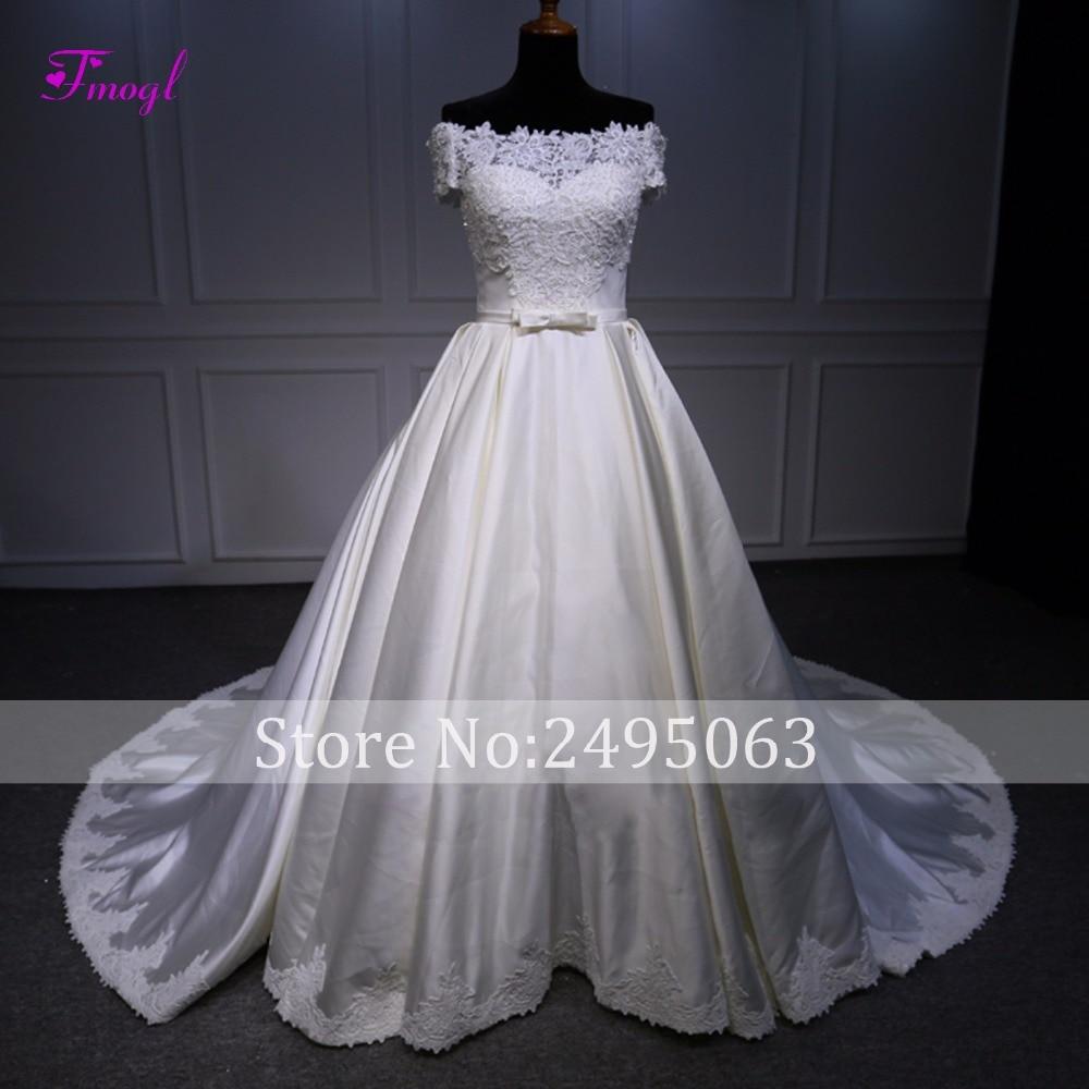 Fmogl Graceful Appliques Boat Neck Lace Up A Line Wedding Dresses 2019 Fashion Bow Pearls Princess Bridal Gown Vestido De Noiva