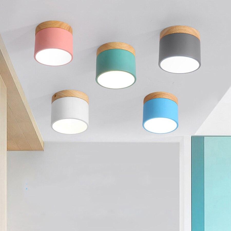 Thrisdar 9 w Nordique Macaron De Fer En Bois Surface Monté LED Downlight Cuisine Chambre Allée Couloir LED Plafond Lampe Spot Light