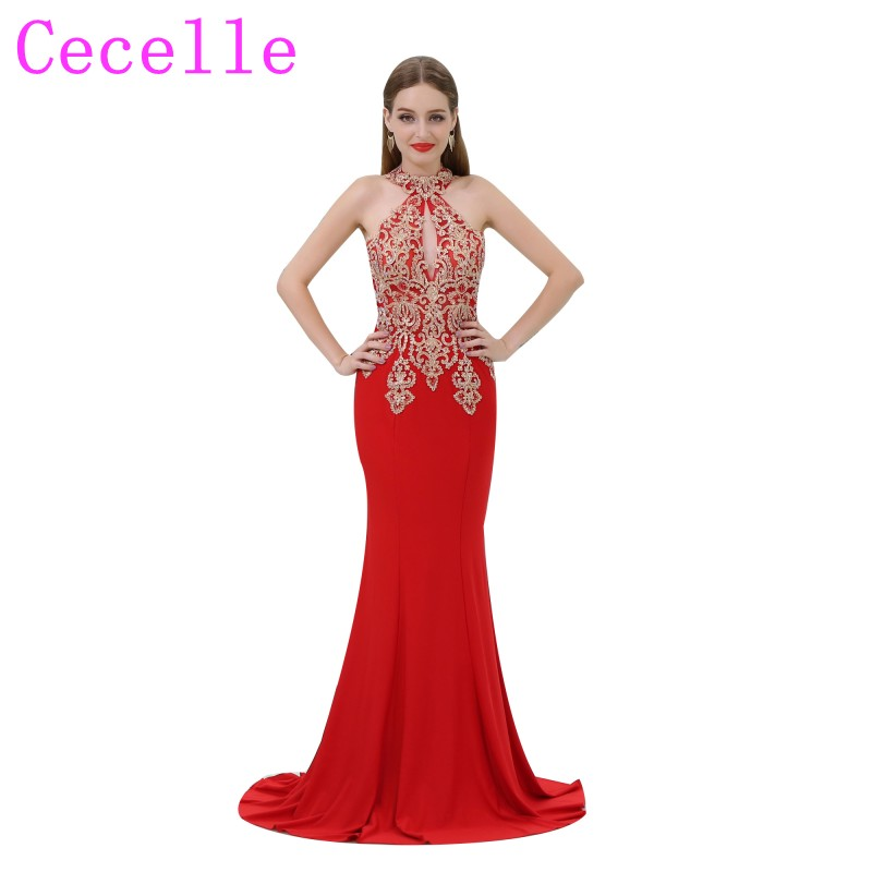 2019 New Long Red Mermaid   Prom     Dress   With Gold Lace Appliques Elegant Arabic Women Formal Evening   Prom   Party   Dress   Custom Made