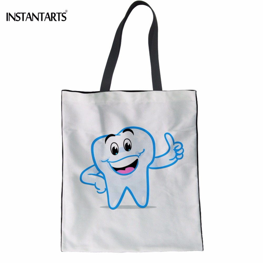 INSTANTARTS White Teeth Print Girls Shopping Tote Bag Funny Cartoon Fairies Clean Tooth Design Cloth Eco Bags Large Reusable Bag tote bag