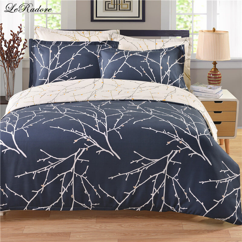 LeRadore Fashion 3 Pcs Polyester Duvet Cover Set Tree like Reversible Soft Comforter Cover Pillowcases From Place Of Origin