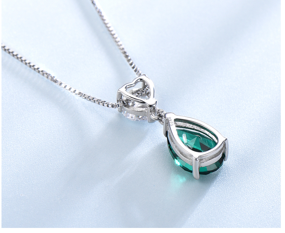 UMCHO ?Emerald   925 sterling silver necklace for women NUJ059E-1-pc (5)