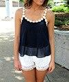 Verão 2016 Nova Sexy Lace Cinto Condoer Camisetas Chiffon Tops T camisas das Mulheres Venda Quente