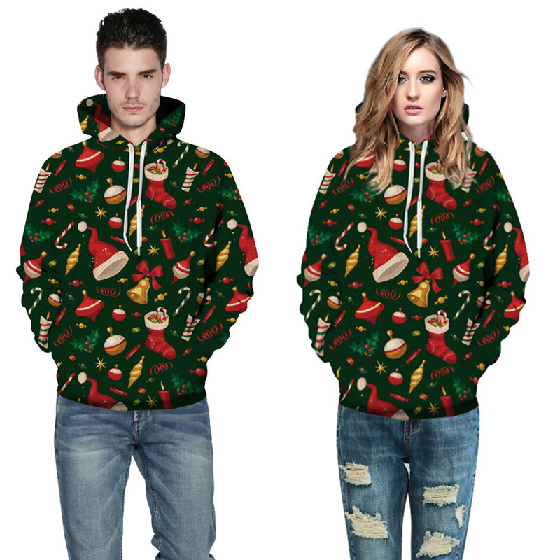 2017 New Christmas Stylish Women Men Casual Hooded Hoodies Plus Sizes 3XL 3d Print Autumn Winter Thin Loose Sweatshirt Tracksuit