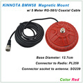 New Arrival KINNUOTA BMW58 Color Red MAGNETIC MOUNT SO239 with 5 Meter RG-58/U Coaxial Cable PL259