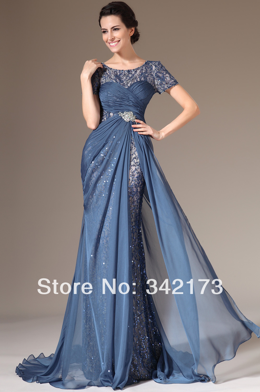 Short Sleeves Evening Formal Gown Ruched Chiffon Floor Length Navy ...