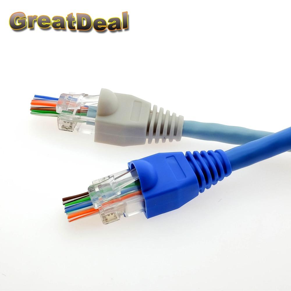 50 / 100x 8Pin RJ45-kontakt Cat 5 5e 6 RJ45 Plug Cap Ethernet - Datorkablar och kontakter - Foto 6