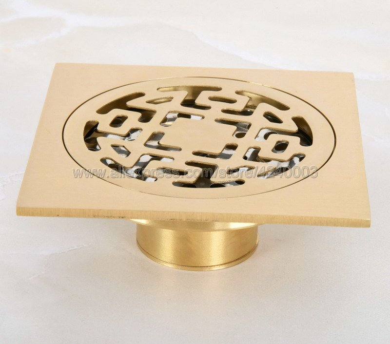 10 cm Square Golded Brass Shower Drain Hair Strainer Art Carved Bathroom Accessories Waste Grate Floor Drain Cover Khr050 free shipping europe style high quality brass art carved flower gold square 4 size deodorization floor drain waste drain