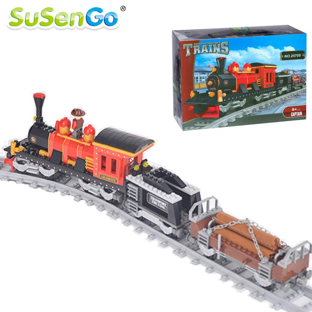 SuSenGo Building Blocks Classical Train Set DIY Bricks 410pcs Children Model Toys Christmas Gift Compatible with Lepin lepin 22001 pirate ship imperial warships model building block briks toys gift 1717pcs compatible legoed 10210