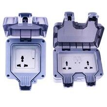 цена на 13A Outdoor Wall Switch Socket Weatherproof Waterproof IP66 Fit for US&EU&UK&AU Plug 90-250V for Workshop, Bathroom, Garden