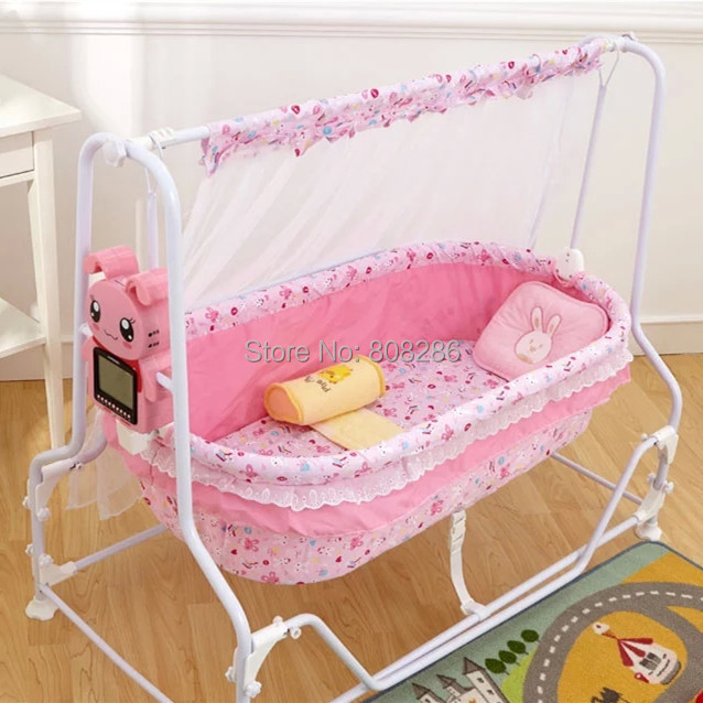 132524d506a31 Brand New Baby Crib Shaking Bed Bule and Pink Infant Rocking Bed Baby Cot  Pure Cotton Cheap Price