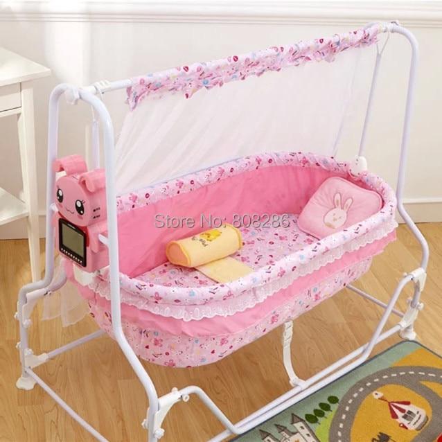 Brand New Baby cuna cama temblando Bule y rosa bebé mecedora cuna ...