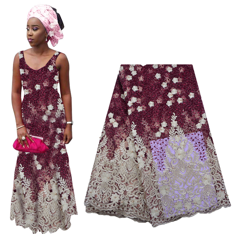 Latest African Lace Fabric 2019 Flower Embroidered Nigerian Lace High Quality French Tulle Lace Fabric With Beads For Wedding