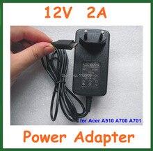 Alta Calidad 12 V 2A Cargador de LA UE EE.UU. enchufe para Acer Iconia Tab A700 A701 A510 A511 Tablet PC de 10.1 pulgadas de la fuente de Alimentación adaptador