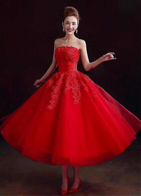 2016 Elegant Red Short Beach Wedding Dresses Lace ...