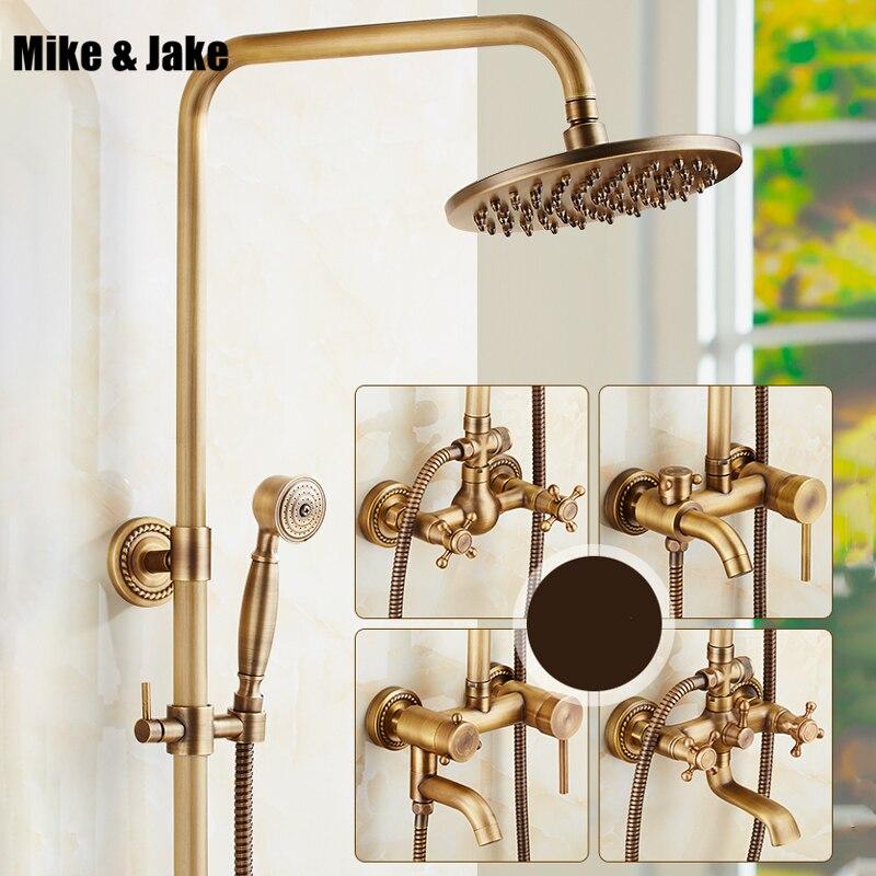Ensemble de douche antique de salle de bains avec robinet de douche mural en céramique ensemble de douche antique ensemble de robinet de douche chaude et froide