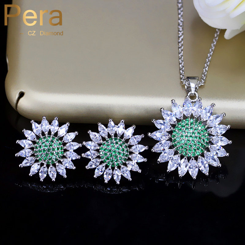 Pera Top Quality Fashion Brilliant Women Jewelry Set Big Sun Flower Green And White Zirconia Earring And Necklace For Party J212 цена