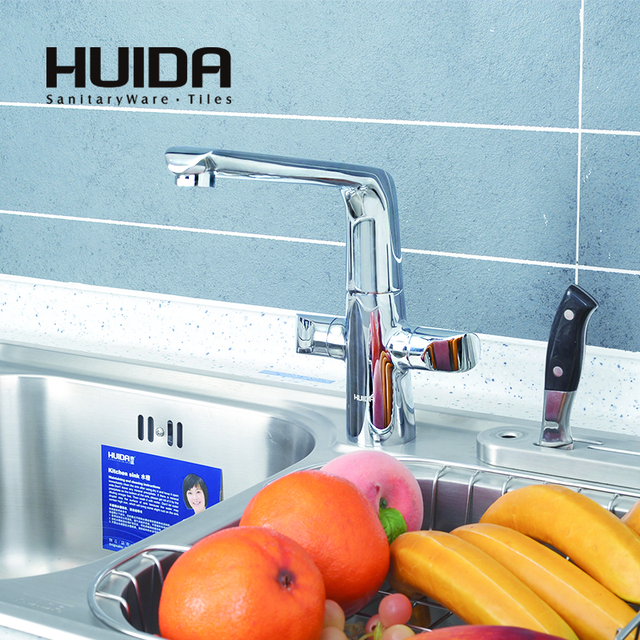 HUIDA bathroom brass kitchen faucet contemporary handle deck mounted ...