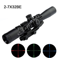 AIM Sports 2 7x32 Compact Rifle Scope Mil Dot Reticle Riflescope Three Color Illuminated Sight Waterproof