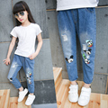 Fashion Korean Style Children Ripped Jeans 2017 Fall Autumn Girl's Ripped Jeans Casual Pants for Girl