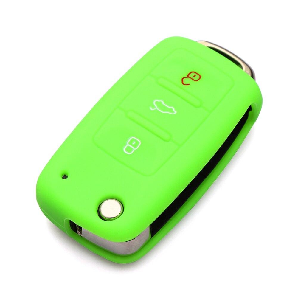 Силиконовый чехол для ключей автомобиля для Volkswagen polo passat golf 5 6 jetta tiguan Gol CrossFox Plus Eos Scirocco Beetle, автомобильный Стайлинг - Название цвета: Зеленый