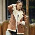 Вери güde женщины искусственной кожи из искусственного меха с капюшоном пальто короткий передний и длинные вернуться хорошее для зимы