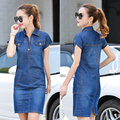 plus size 3XL 2016 New summer women casual dresses short sleeve Female fashion denim dress JN284