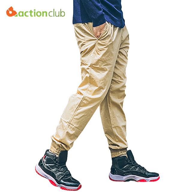 Actionclub plus size novas calças dos homens casuais calças elásticas masculino moletom top quality mens corredores harém-calças largas retas